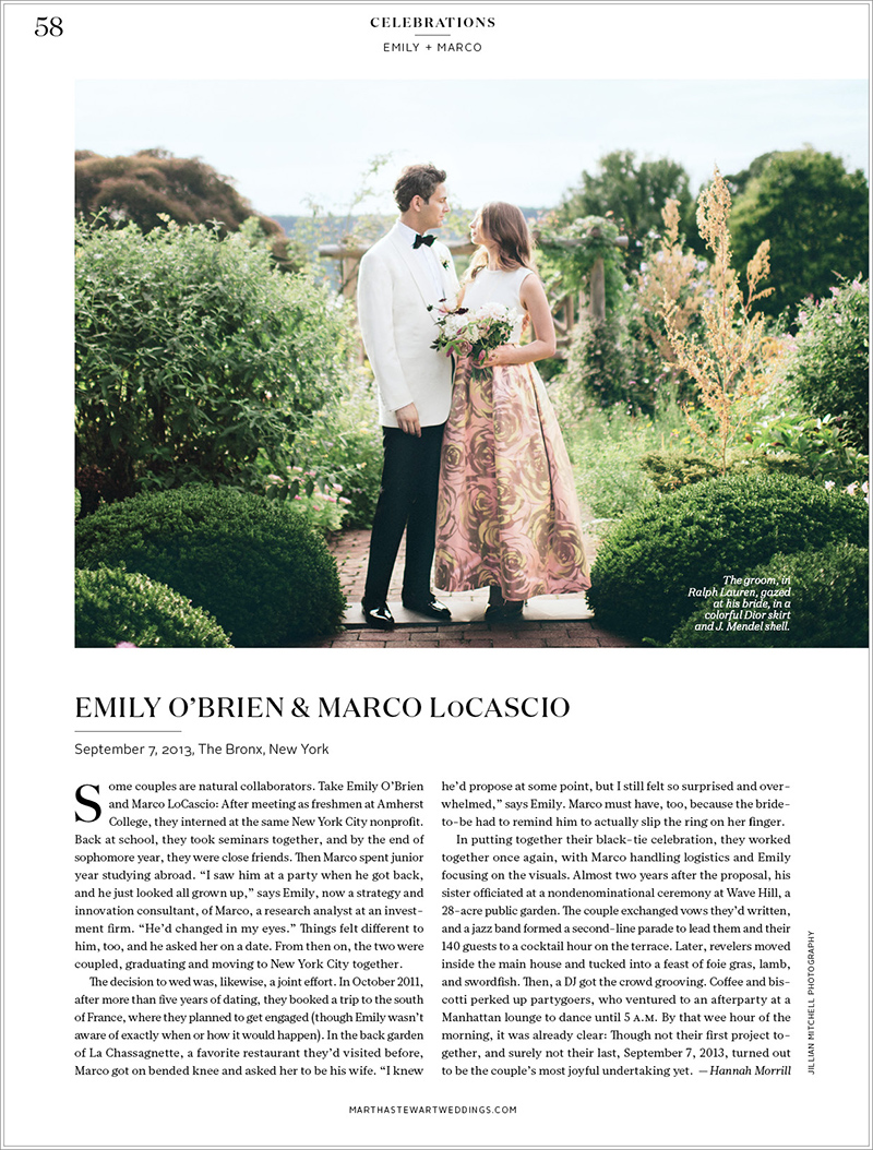 Martha Stewart Weddings Magazine New York Wedding Photography by Jillian Mitchell