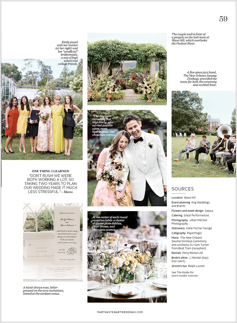 New York Wedding featured in Martha Stewart Weddings Destination