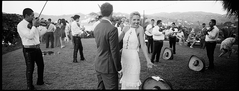 Bride and groom at a Mexican wedding with mariachi in Sayulita, Mexico